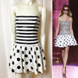 Betsey Johnson Party Sequins Dress Dots Stripes